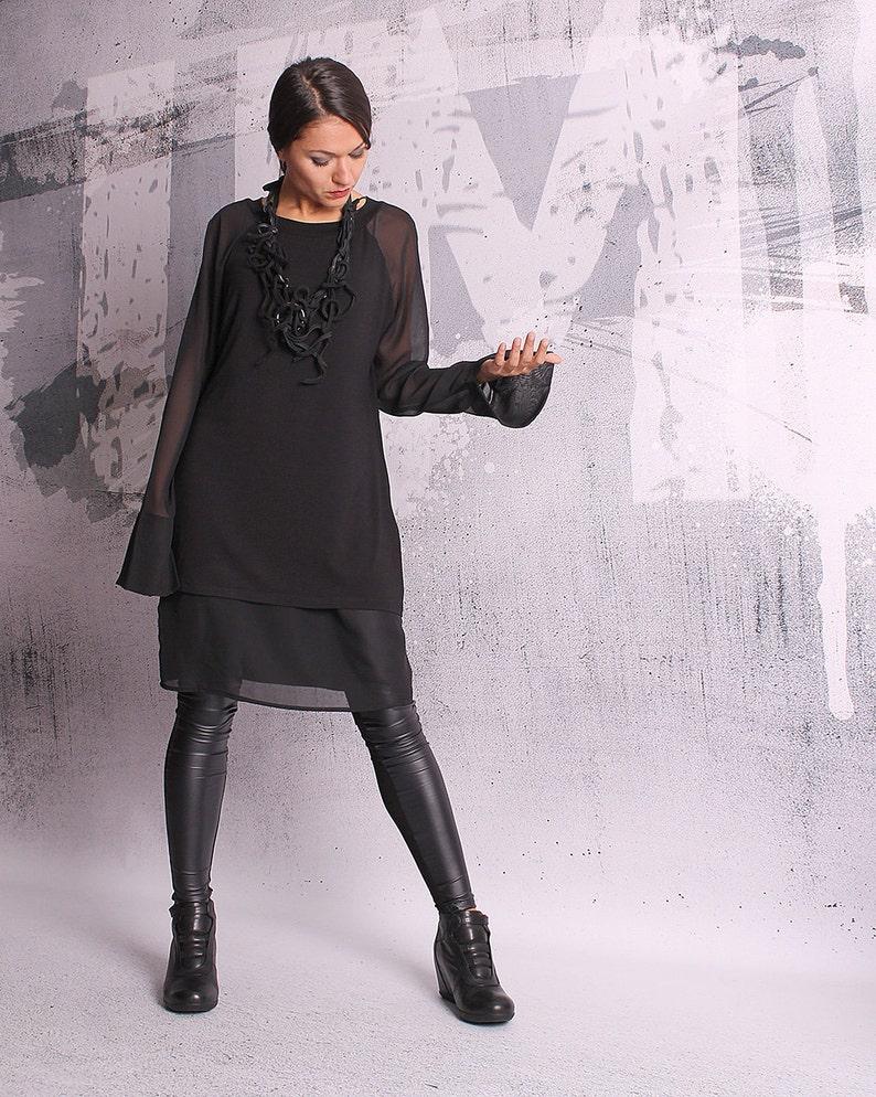 Black tunic blouse with long sleeves black tunicblack image 0