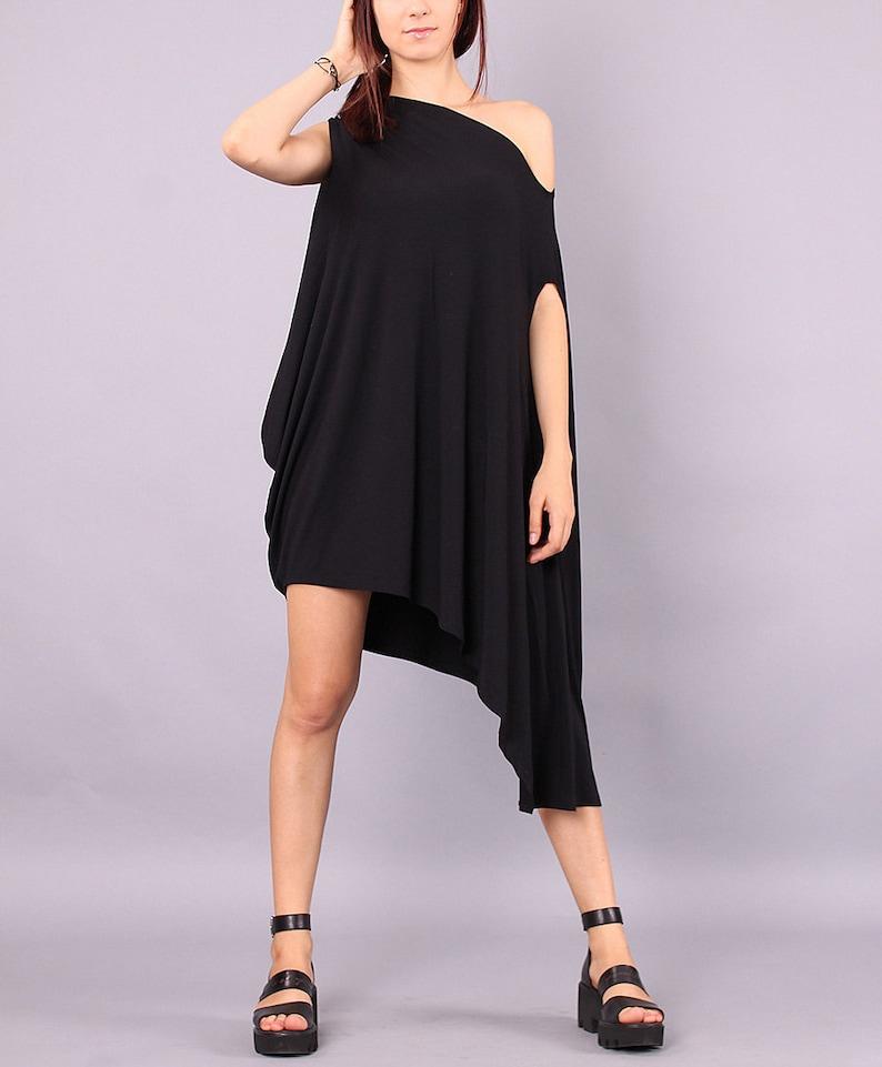 Tunic Asymmetrical tunic plus size oversized top black image 0