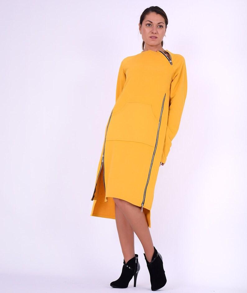 Sweatshirt dressYellow cotton dress Dress with zippersLong image 0