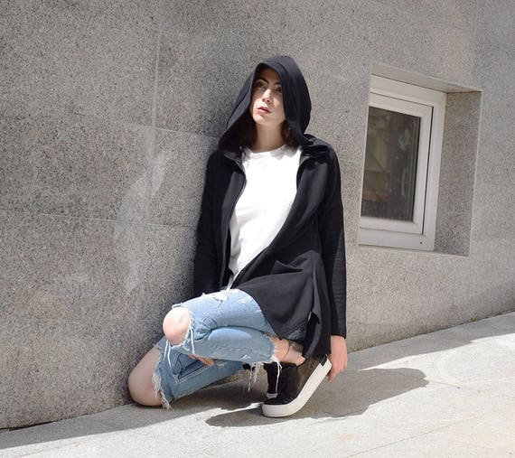 blazer black sweatshirt jacket black quilted black hoodie hoodie Extravagant urbanmood QC 188 hoodie cotton black Um cUq8vvW