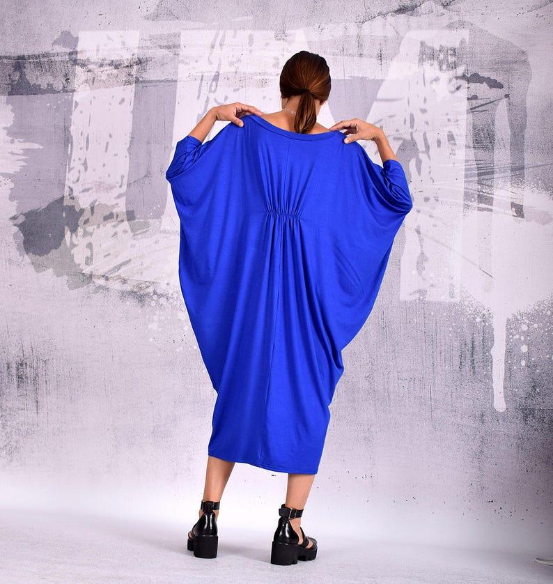 long dress Dress maternity dress midi dress Blue knee length dress loose dress urbanmood oversize dress um-190-vl bohemian dress