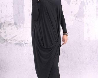 Black dress,loose maxi dress, plus size dress, oversize tunic dress, long tunic dress,tunic dress, dress in black,plus size  - UM-CL004-VL
