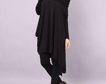 Tunic, Asymmetrical tunic, Long tunic, plus size oversized tunic, black tunic top with long sleeves by UrbanMood - CO-NENA2-VL