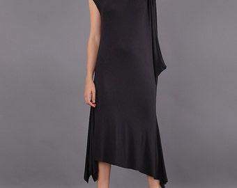 Dress, Black extravagant asymmetrical dress, elegant dress, party dress, maxi dress - CO-KEYA-VL