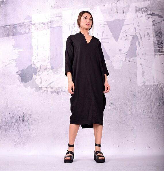 UM dress dress dress dress size Black linen long 161 UrbanMood Dress midi dress loose by asymmetric plus dress LN party T1qxf
