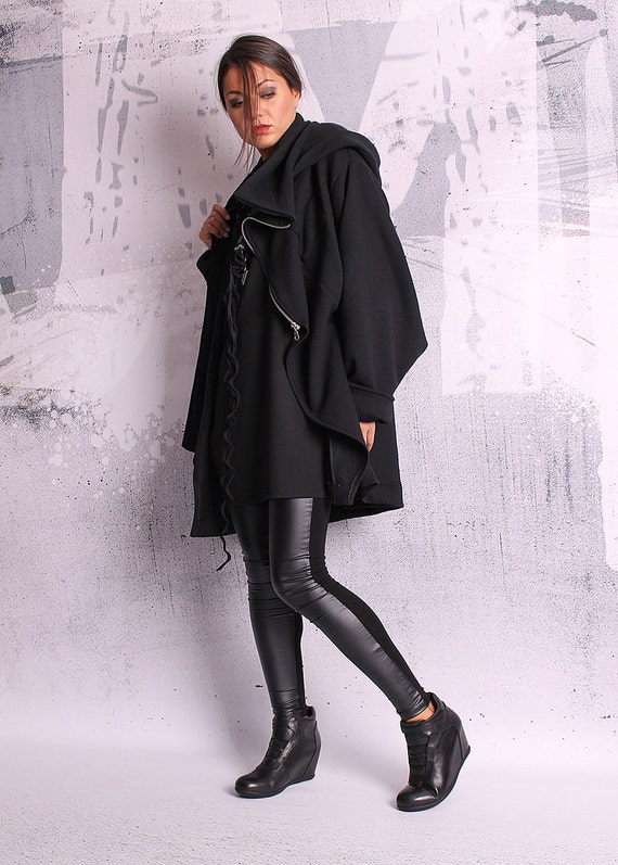 quilted sweatshirt fit QC jacket cotton 050 hood blazer black black coat black hoodie Extravagant UM with loose coat cotton jacket HYxwnA4aEq