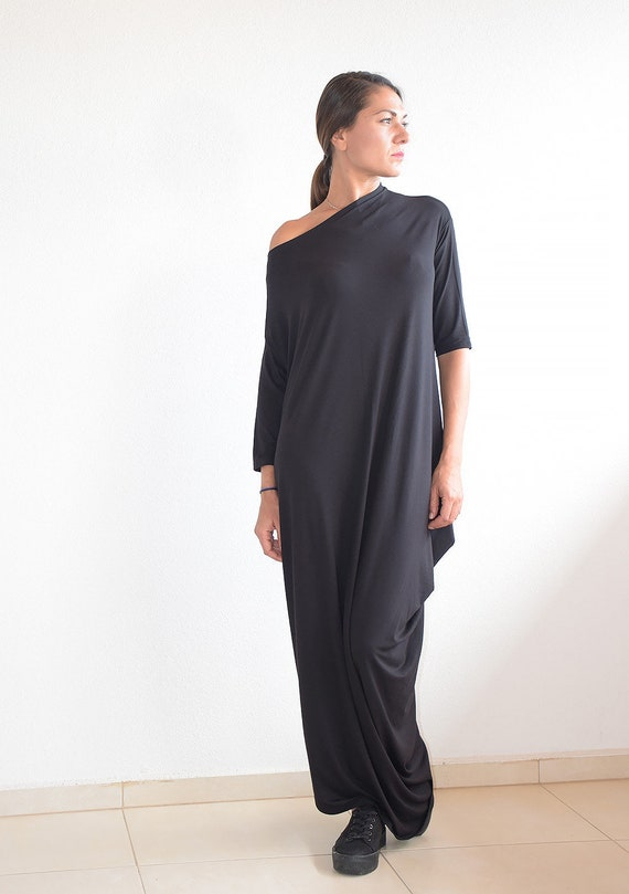 Maxi Dress, Black Maxi Dress, 3/4 Sleeve Dress, Summer Dress, Long Dress,  Plus Size Dress, Plus size maxi dress, Oversize dress, Um-242-VL