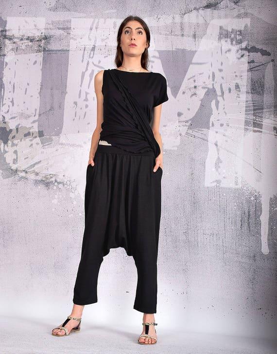 Drop Woman Pants Pants with UM202VL Oriental Crotch Pockets Loose Elastic Harem Casual pants Black Pants Pants Pants Pants 5Z1Hwq7