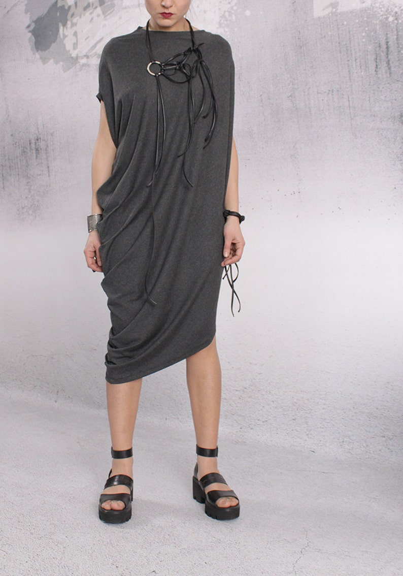 Gray Dress Party dress Asymmetric dress Loose Dress image 0