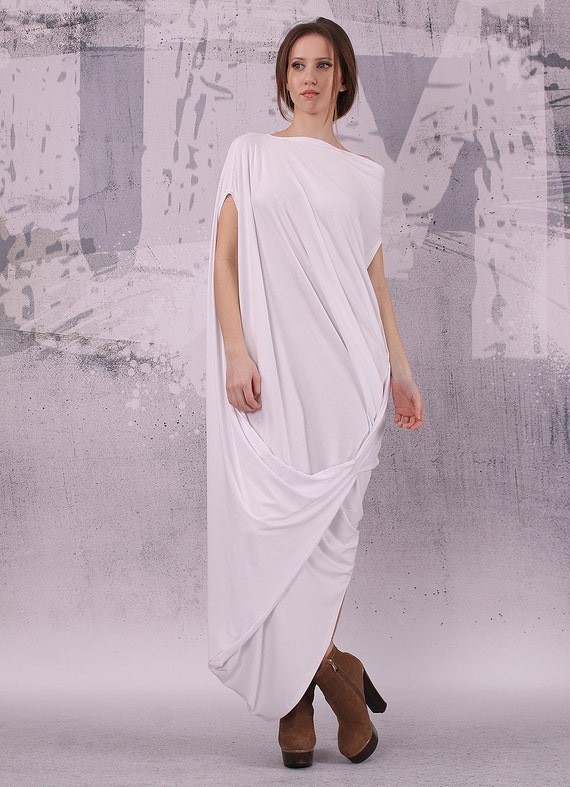 White Loose Maxi Dress With Very Short Sleeves Plus Size Etsy
