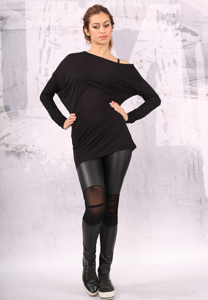 Black asymmetrical blouse with long sleeves black tunic image 0