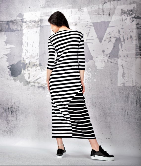 Maxi Dress Black and white striped maxi dress 3/4 sleeves | Etsy