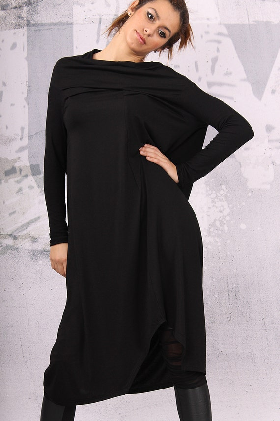 plus tunic extravagant sleeved dress sized Black asymmetrical tunic dress VL loose size UM CL007 long dress over x0nXdwqH