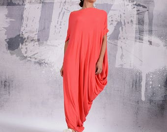Long Dress, Coral loose dress, asymmetric maxi dress, short sleeves, plus size dress, oversize tunic dress, long tunic dress  - 029