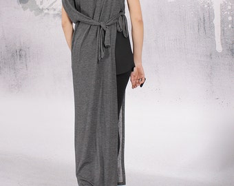 Vest, Asymmetric vest, Asymmetric cardigan, Woman vest, Black vest, Gray vest, Knit cotton cardigan by UrbanMood - FP-ANYA-PT