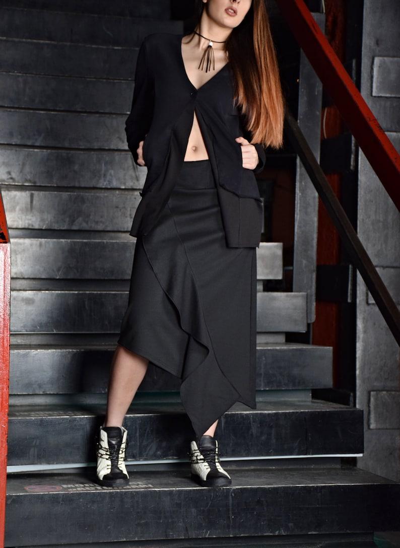 Black Skirt Knee length skirt A line skirt long skirt image 0