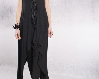 Tunic, Black long tunic, casual top, sleeveless top, asymmetric tunic by UrbanMood - CO-RONI-VL