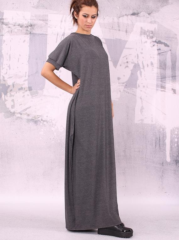 maxi dress dress long tunic dress 012 loose size loose UM VL dress oversize Gray dress plus extravagant asymmetric dress w7qFFZ0g