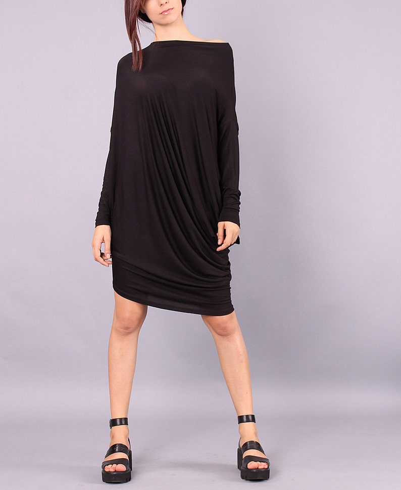 Tunic Asymmetrical black long sleeved tunic top loose dress image 0