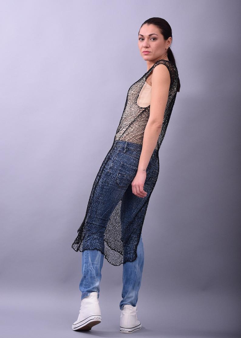 hand knit tunic by UrbanMood,K126CO Hand knit mesh top,Black hand knit top sheer top shrug sheer tunic,Sleeveless top,Long tank  top