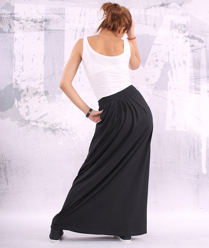 Extra long black skirt maxi skirtlong skirtblack skirt image 0