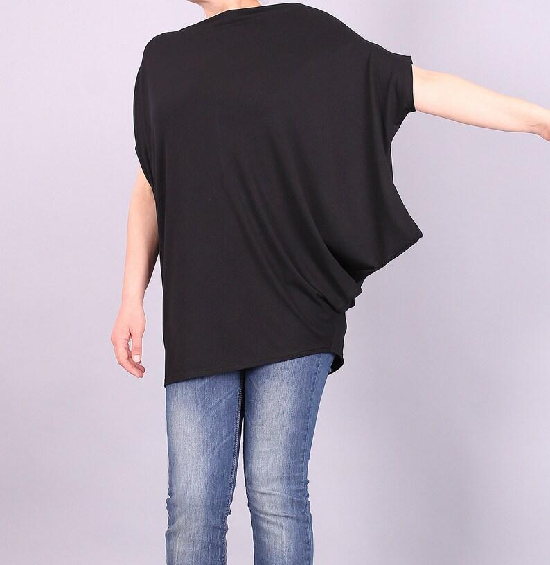 Tunic Asymmetrical black top loose blouse loose tunic image 0