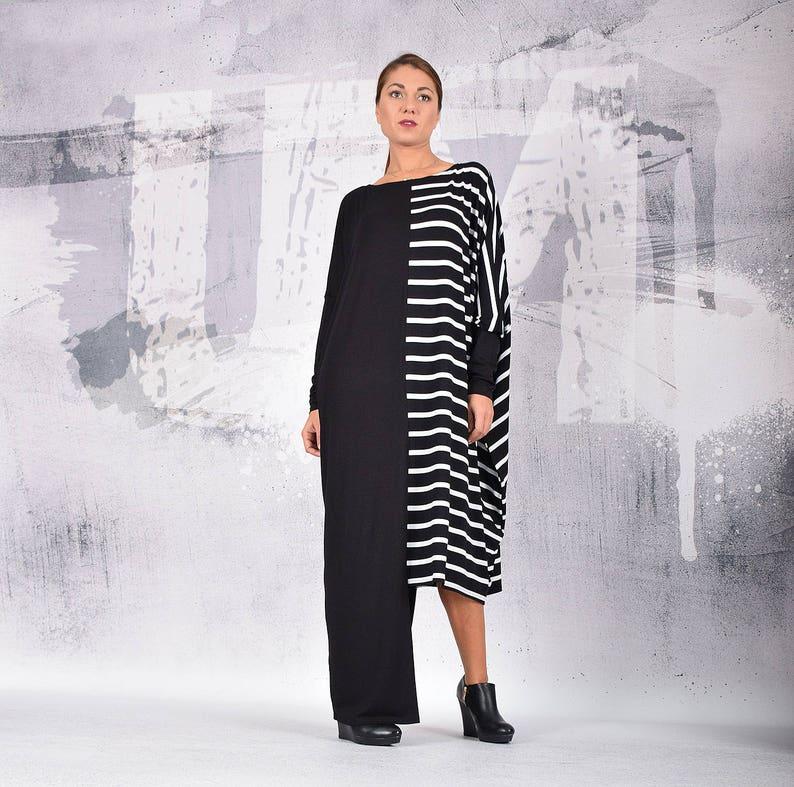 9fc492a46155 Caftan dress Maxi Dress Black and white striped dress plus | Etsy