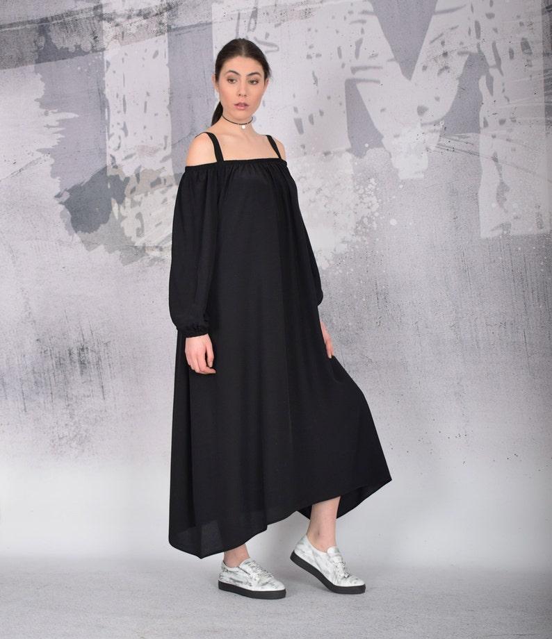 Black Maxi Dress Long loose dress Bare shoulders dress Long image 0