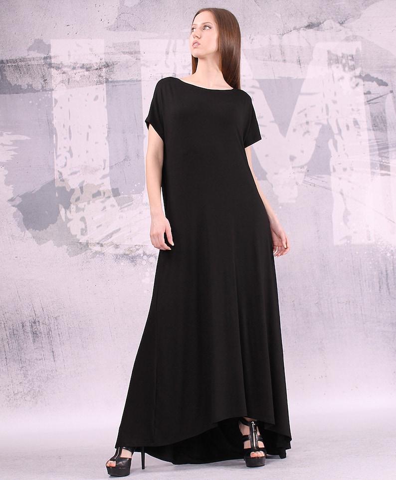 Black dress/ maxi dress extravagant dress/ asymmetric dress/ image 0
