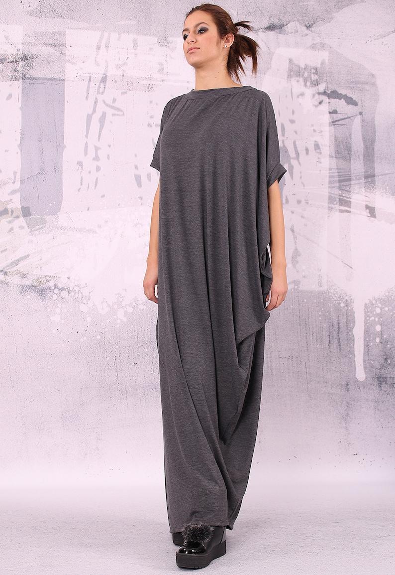 b67e4bf1d5f Graphite gray extravagant loose long asymmetrical dress/ plus | Etsy