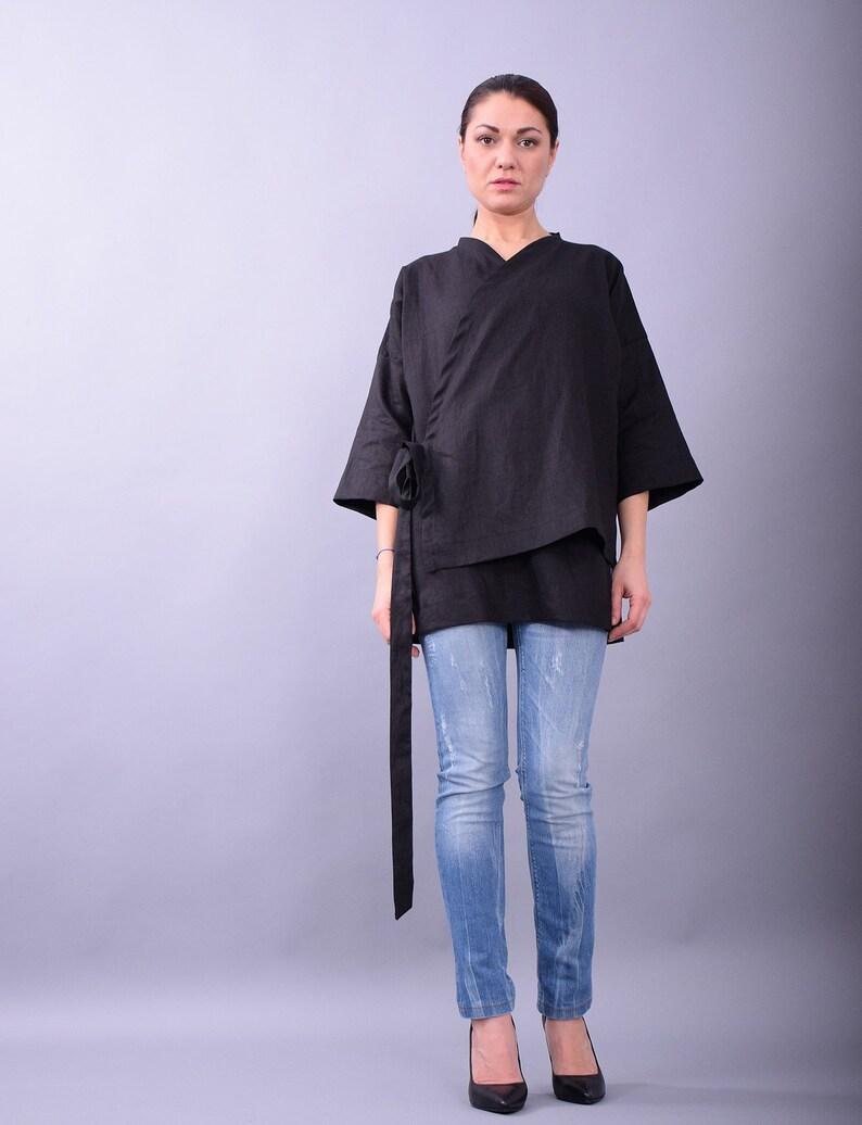 Linen coatBlack linen coatBlack women coatWrap image 0