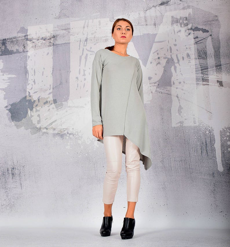 Woman Blouse Gray Blouse Gray Top Wrap Top Asymmetric image 0