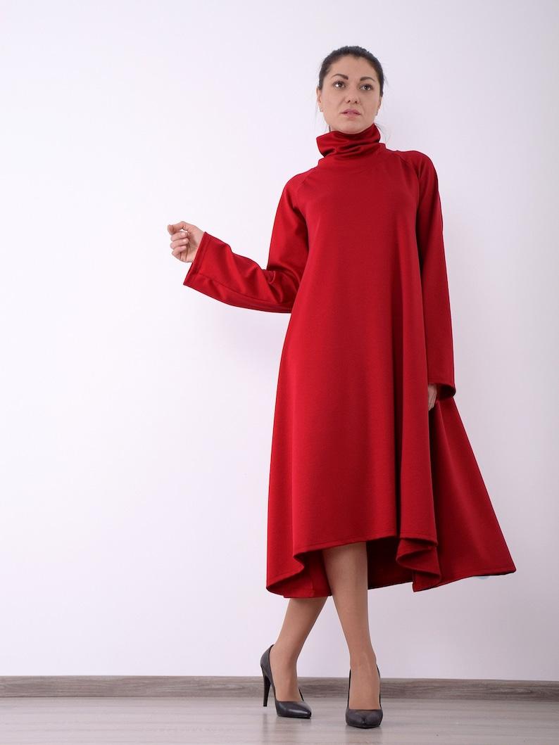 Red women dress Long sleeved dress Asymmetric dress Knee image 0