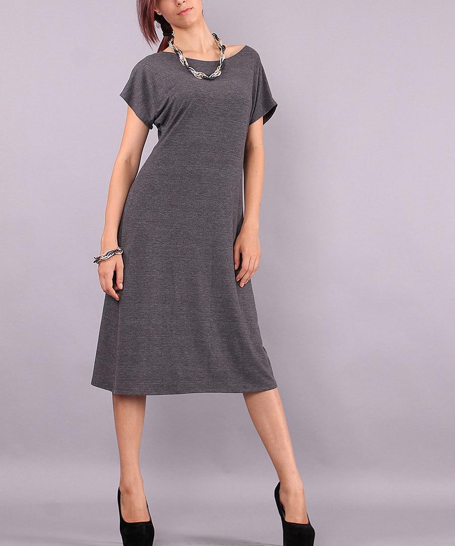 Midi Dress Simple Knee Length Dress With Very Short Sleeves Etsy