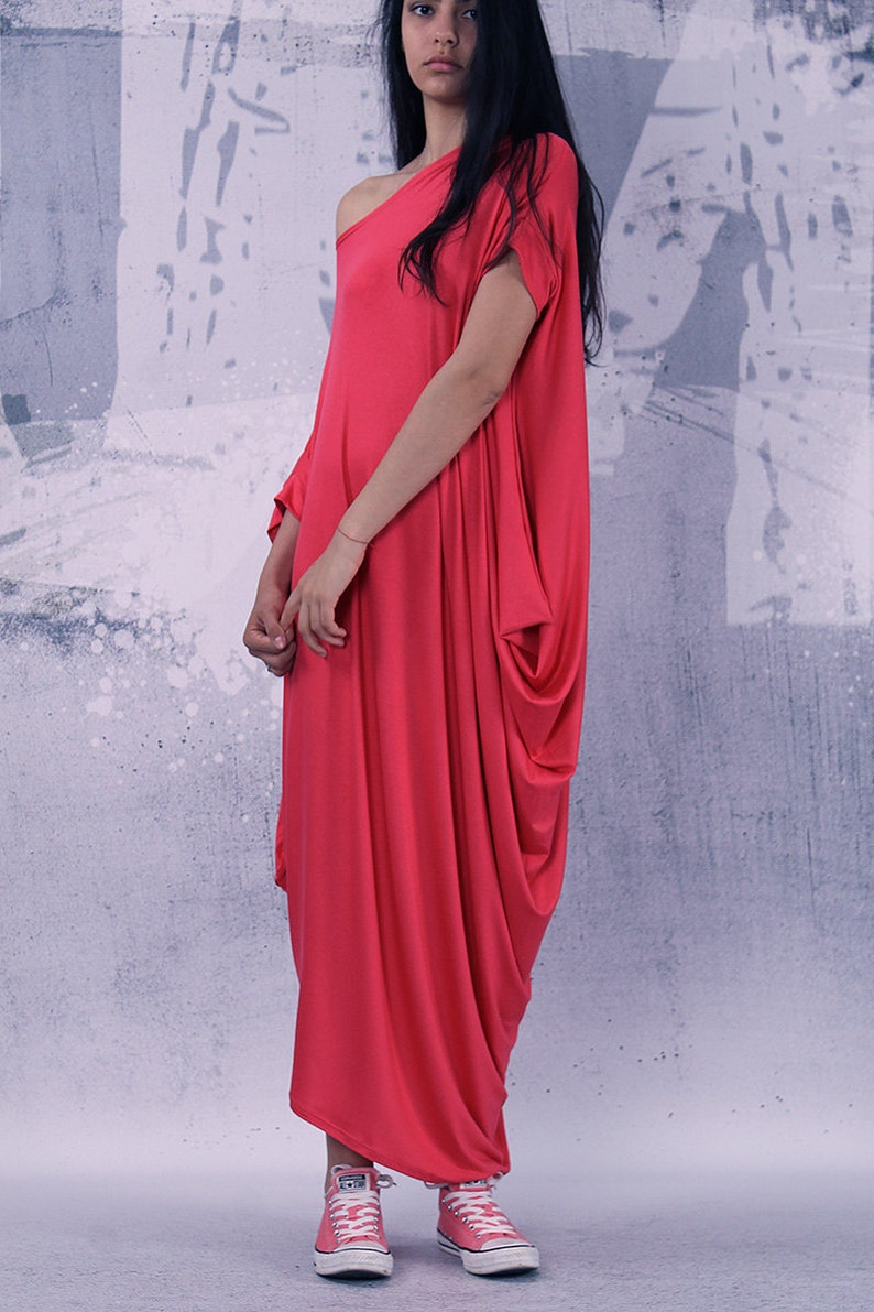 Coral loose dress/ asymmetric maxi dress with short sleeves / image 0