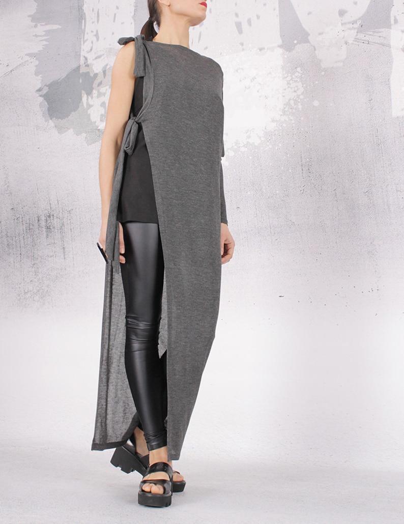 Vest Asymmetric vest Asymmetric cardigan Woman vest Black image 0