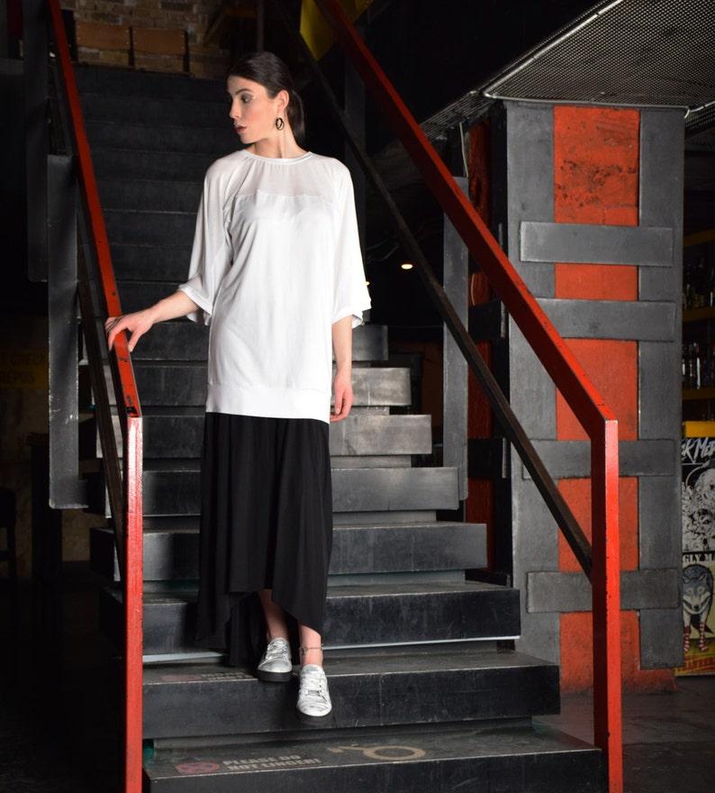 White tunic extravagant tunic asymmetric tunic dress plus image 0