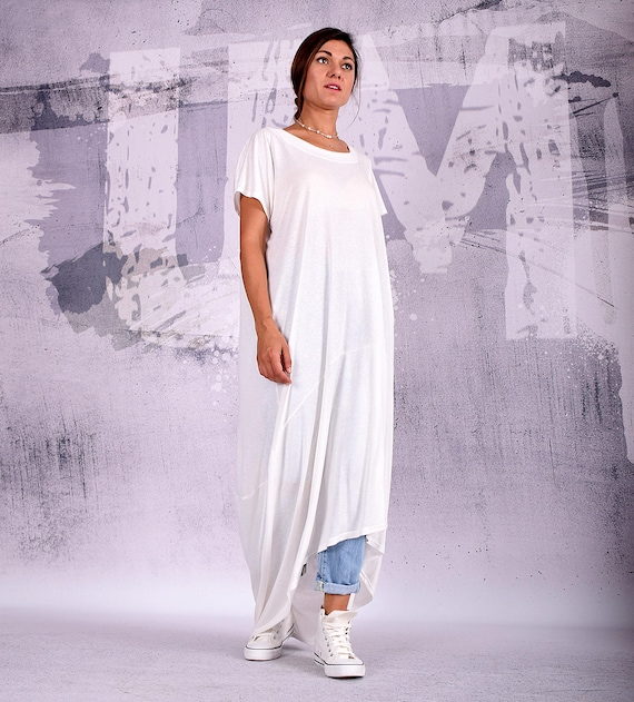 White maxi dress, short sleeves, plus size dress, oversize tunic, extra  long tunic, asymmetric dress, casual dress, wide dress, UM-201-VL