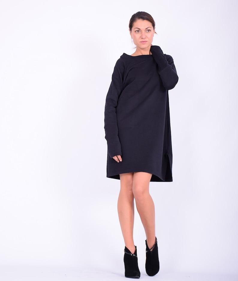 Black mini dress Sweatshirt dress SweaterdressLong sleeved image 0
