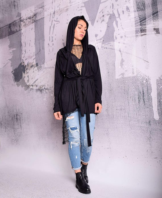 Cotton UM Asymmetric sweatshirt vest sweatshirt UrbanMood Black cardigan Black vest 165 Woman CO vest Vest Hoodie Black Asymmetric YZqxtvwAzH