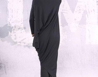 Black maxi dress, asymmetrical tunic dress, plus size tunic, oversized dress, long sleeved dress,maxi dress, long  wide dress - UM-CL002-VL