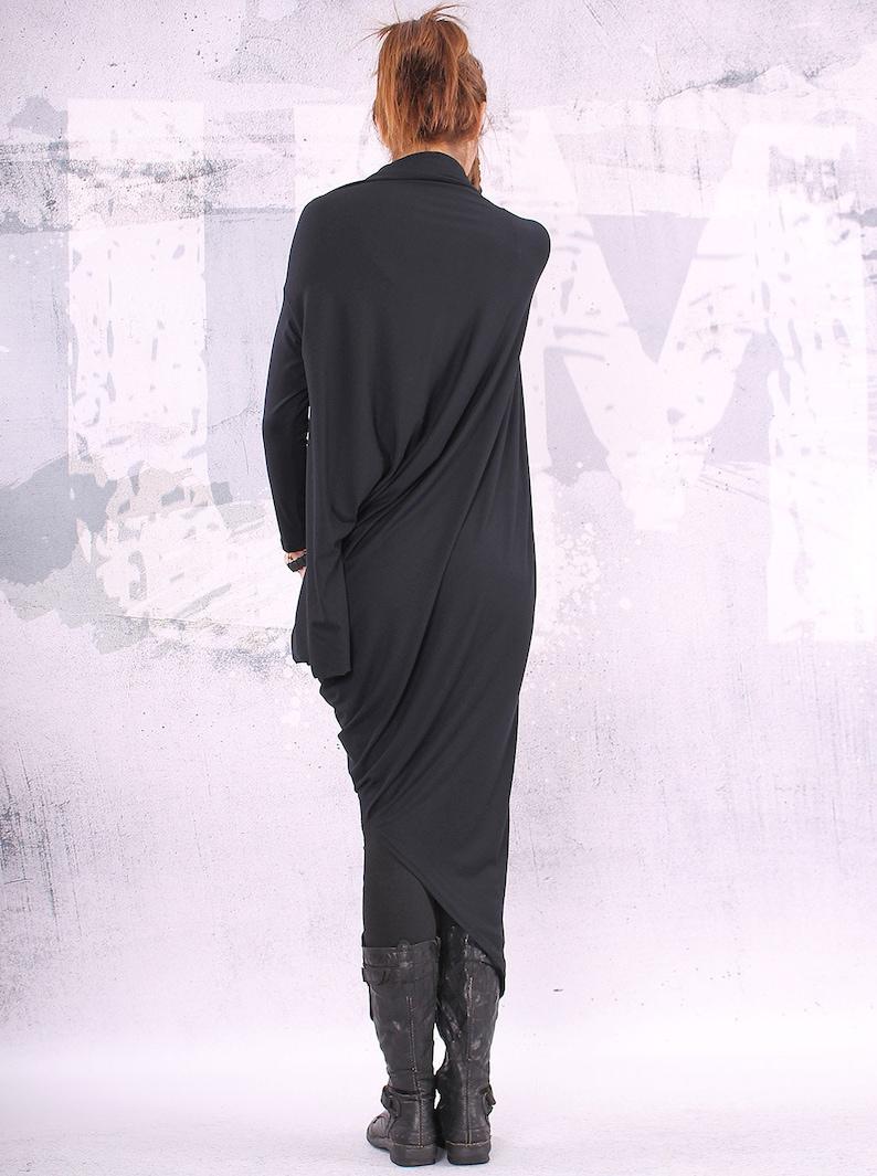 Black maxi dress asymmetrical tunic dress plus size tunic image 0