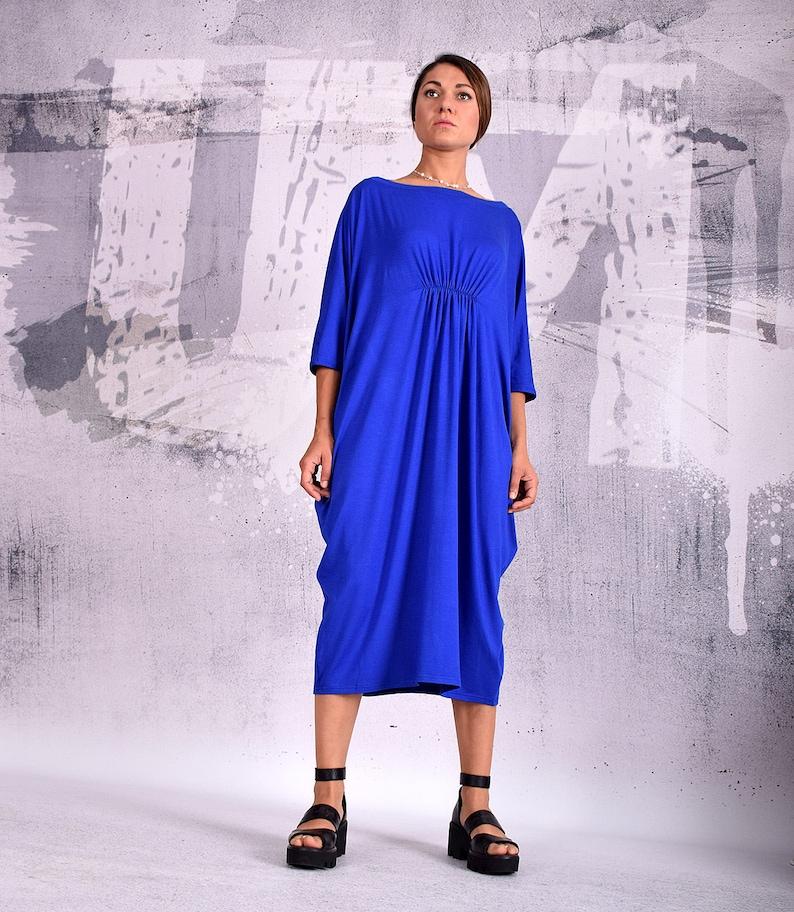 7fa0176681d2 Blue Dress knee length dress midi dress blue caftan loose