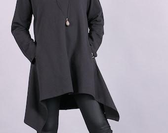 Tunic, Gray asymmetric sweater, long tunic, autumn tunic with raglan sleeves,loose fit tunic,cotton top,spring top by UrbanMood - CO-MONA-QC