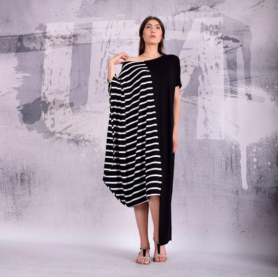 Maxi Dress, Black and white striped maxi dress, plus size dress, oversize  dress, long dress, asymmetric dress, extravagant dress - UM-191-VL