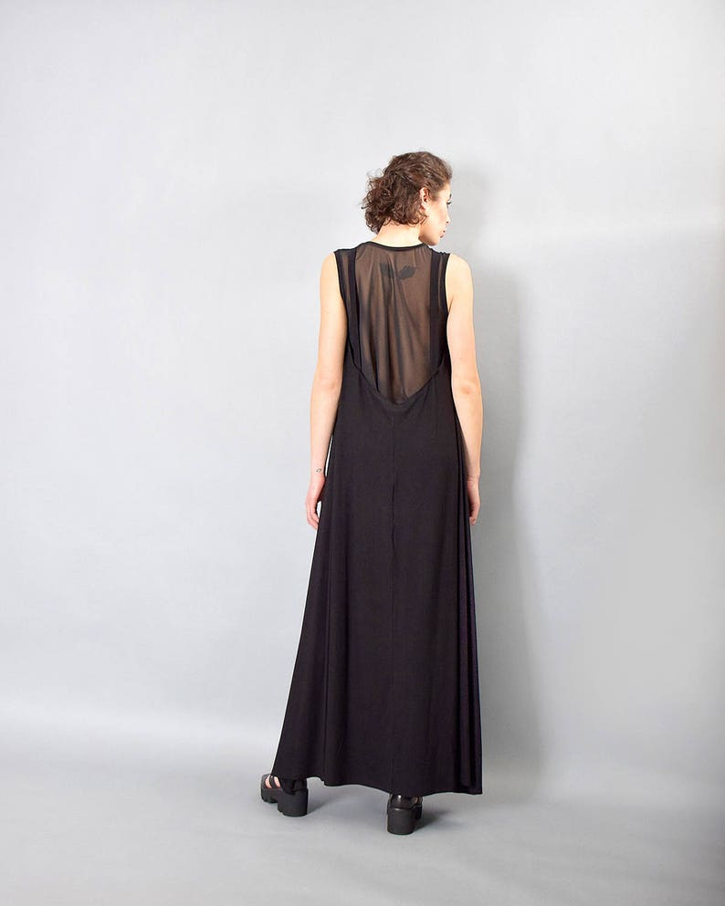 Black maxi dress sheer back dress loose dress woman dress image 0