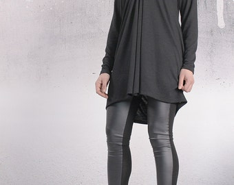 Tunic, Black top, asymmetric tunic dress, plus size tunic, oversized top, long sleeved tunic by UrbanMood - FL-PENI-CO