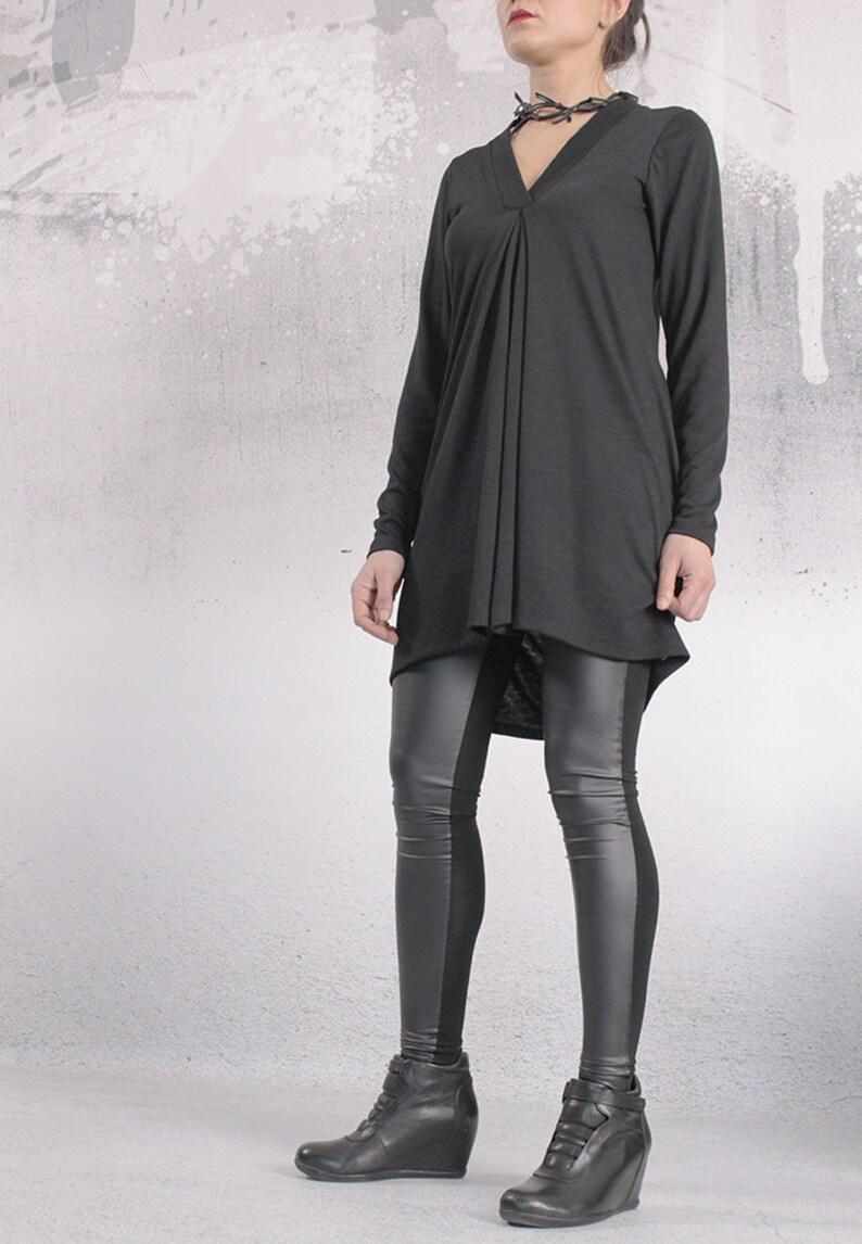 Tunic Black top asymmetric tunic dress plus size tunic image 0