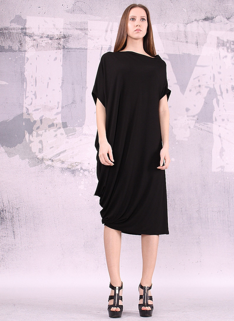 Black dress loose dress knee lenght dress long top loose image 0