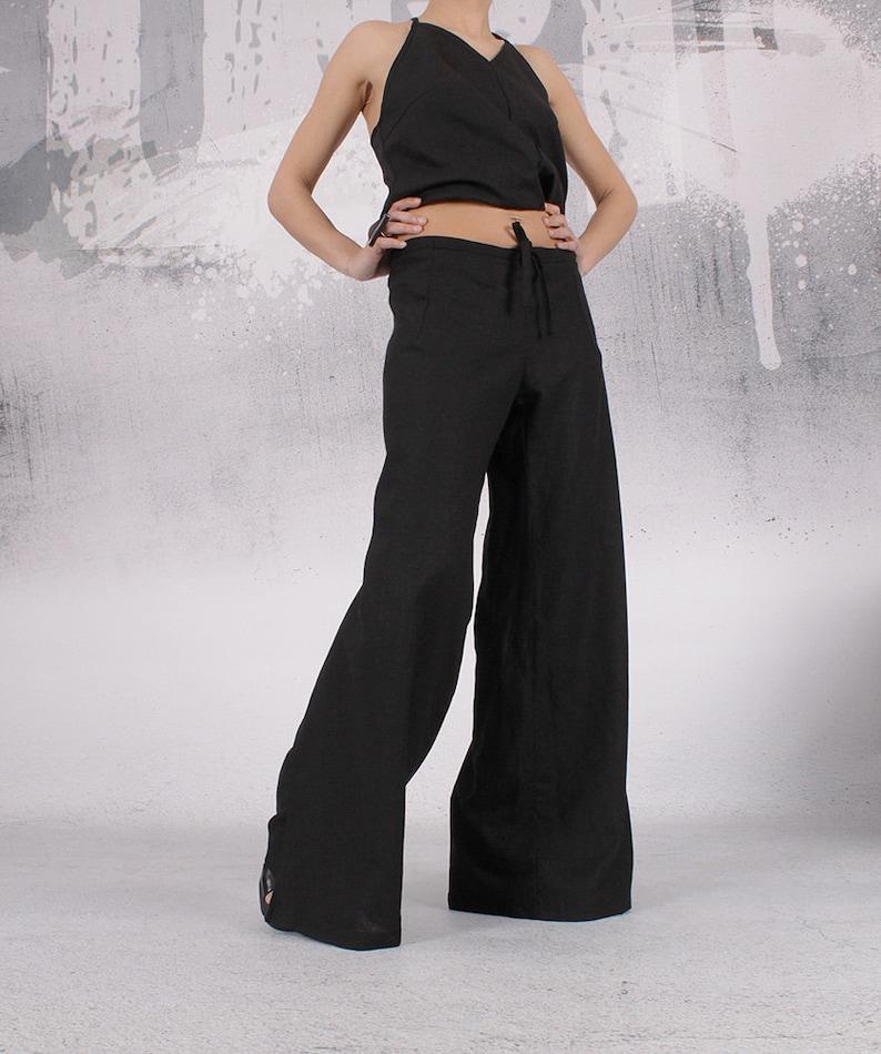 Pants Black linen pants Wrap pants Wide pants Long pants image 0